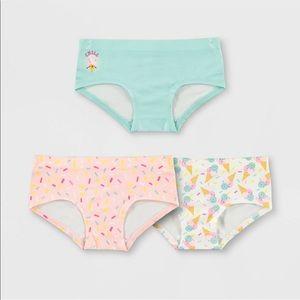 NEW 3 Pack Girls' Ice Cream Girlshorts Size Small